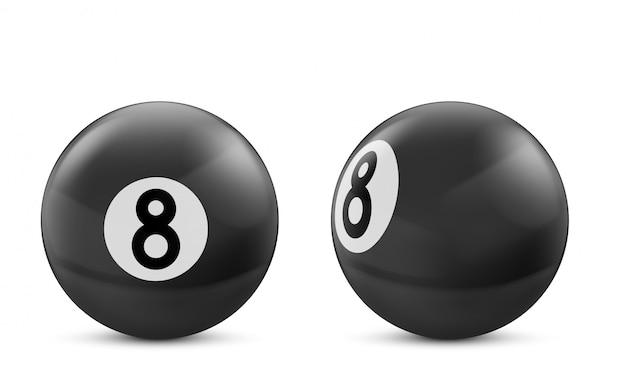 Schwarze kugel des billard acht getrennt auf weiß