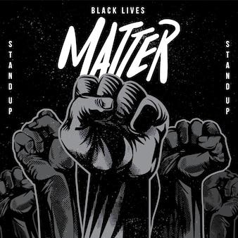 Schwarze leben materie erhoben faust illustration