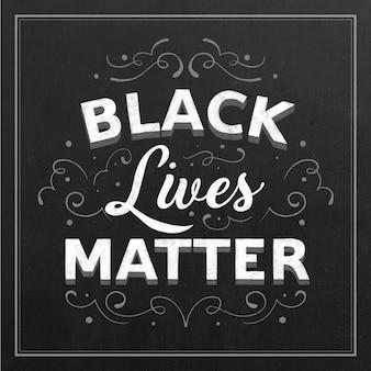 Schwarze leben materie schriftzug auf schwarzem hintergrund