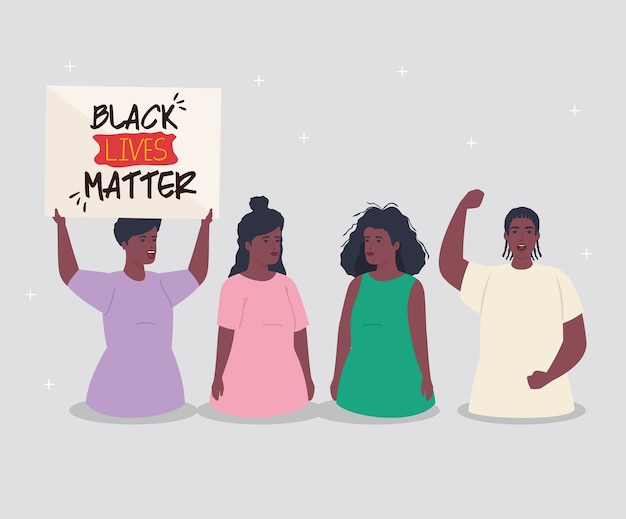 Schwarze leben sind wichtig, afrikanische gruppen mit bannern, rassismus stoppen.