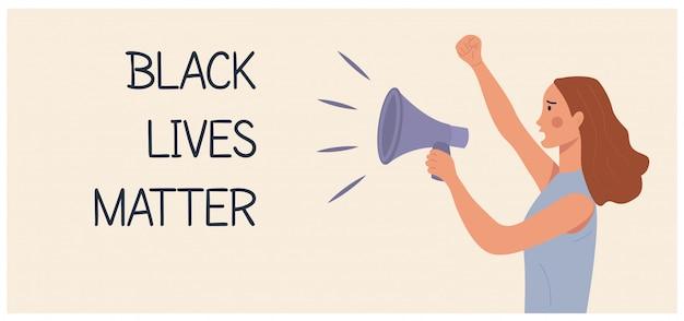 Schwarze leben zählen! kaukasische frau protestiert und hält megaphon, andere hand faust erhoben.