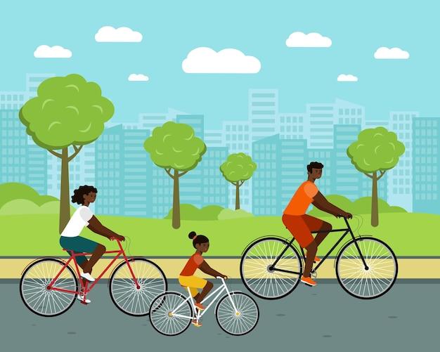 Schwarze leute fahren stadtfahrradfrau und -mann auf fahrrädern afroamerikanische familie