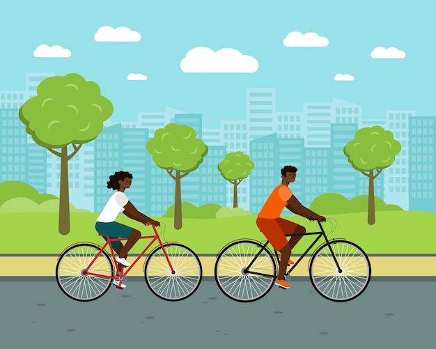 Schwarze leute fahren stadtfahrradfrau und -mann auf fahrrädern afroamerikanische paarcharaktere