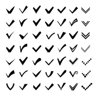 Schwarze linie bestätigen icons auf weißem hintergrund. vektorbilder mit häkchen oder häkchen