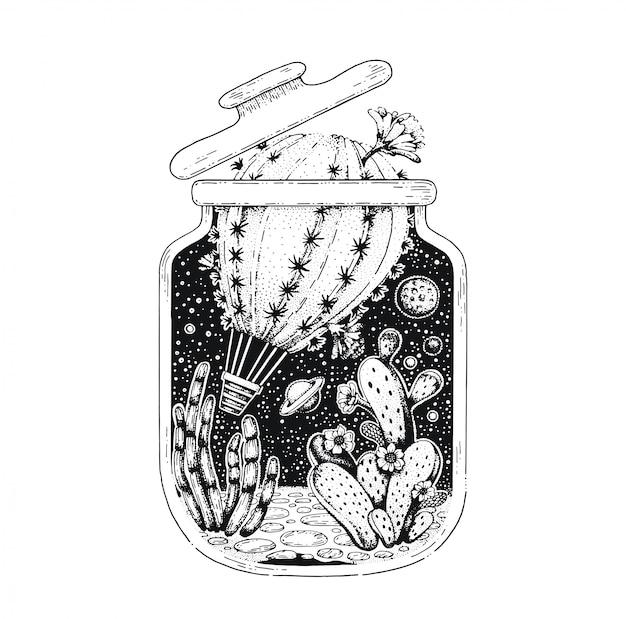 Schwarze linie kunst des kaktusluftballons. vintage-stil-skizze für t-shirt-druck oder tätowierung.