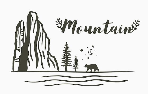 Schwarze linie naturlandschaft mit berg, fluss, mond, baum