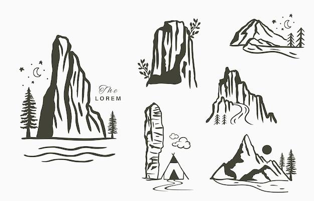 Schwarze linie naturlandschaft mit bergflüssenuntree