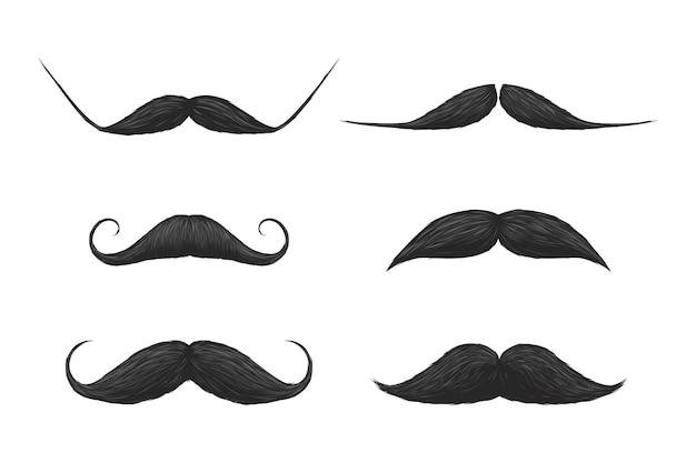 Schwarze lockige gerade schnurrbärte silhouette gesicht hipster-maske. satz menschlicher gesichtsverkleidung mit wirbel, stilvoller, eleganter oder lustiger gentleman-whisker-vektorillustration einzeln auf weißem hintergrund