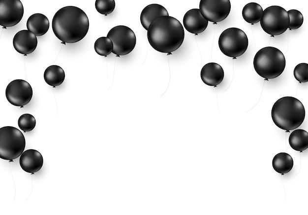 Schwarze luftballons lokalisiert auf weißem hintergrund. schwarzer freitag-dekorationsschablone