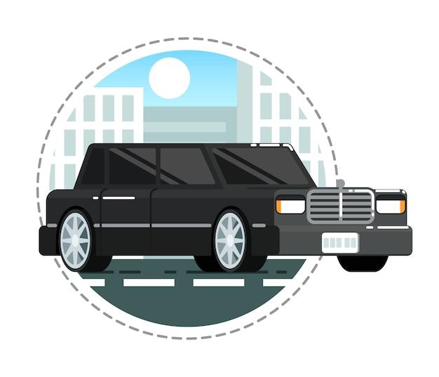 Schwarze luxuslimousine-autoikone