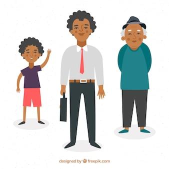 Schwarze männer in verschiedenen altersstufen