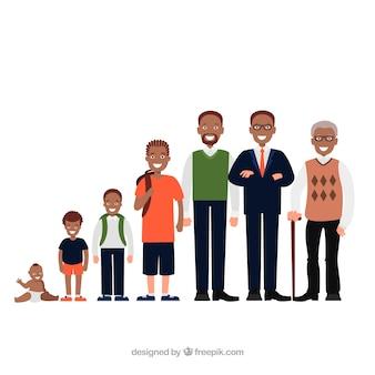 Schwarze männer sammlung in verschiedenen altersstufen