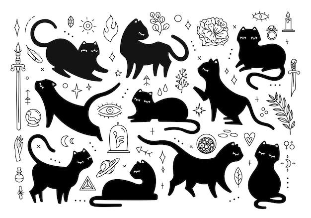 Schwarze magische katzen, verschiedene posen, süße katzensilhouette und mystische elemente. schwarze illustration isoliert auf weißem hintergrund