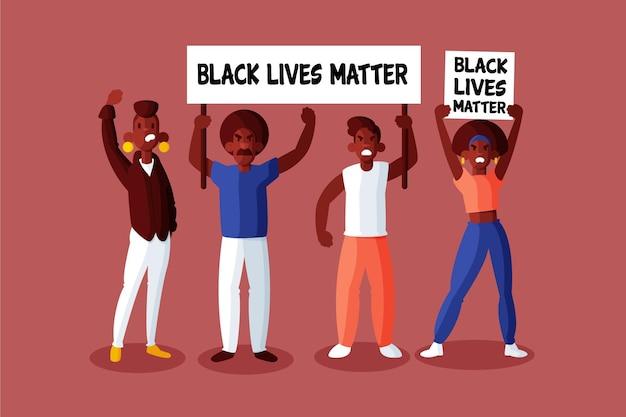 Schwarze menschen, die an der bewegung der schwarzen lebensmaterie teilnehmen