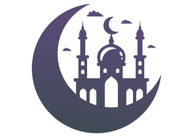 Schwarze moschee-ikone auf dem mond und den wolken. vektorillustration auf weißem hintergrund