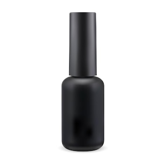 Schwarze nagellackflasche manikürelack runder zylinderbehälter finger-emaille-glas-abbildung