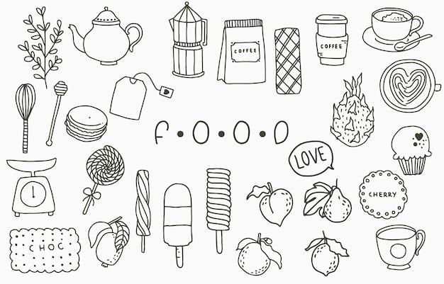Schwarze nahrungsmittelliniensammlung mit topf, pfirsich, obst, eiscreme, kaffee, tee. vektorillustration für symbol, logo, aufkleber, bedruckbar und tätowierung