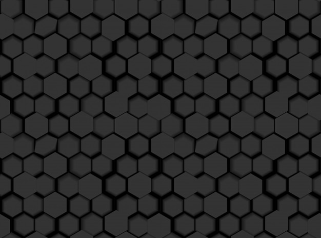 Schwarze nahtlose sechseckige muster-beschaffenheit mit hexagonen 3d und schatten