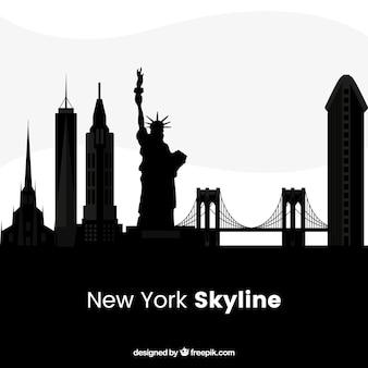 Schwarze new york skyline