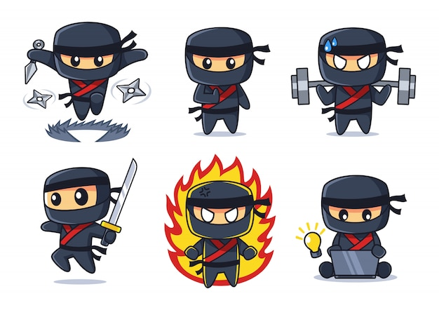 Schwarze ninja-cartoon-sammlung
