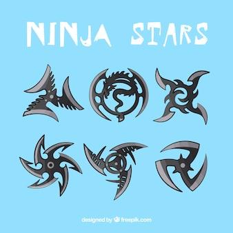 Schwarze ninja sternen sammlung