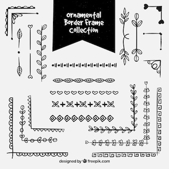 Schwarze ornamentale rahmenrahmensammlung