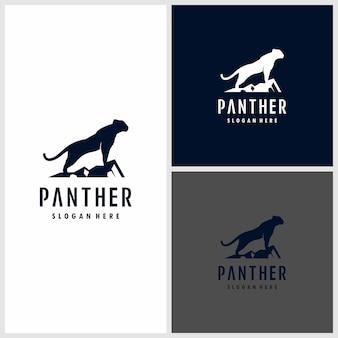 Schwarze panther-logoillustration. stark, schwarz, macht, wild,