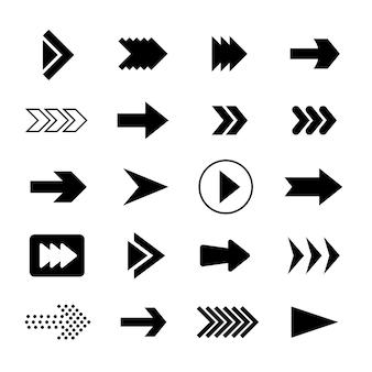 Schwarze pfeilkollektion des flachen designs Premium Vektoren
