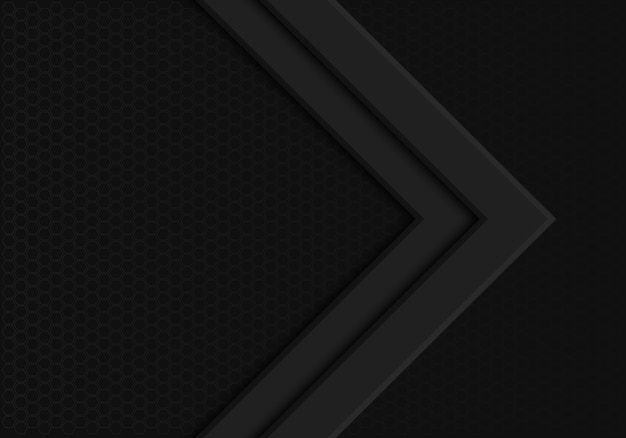 Schwarze pfeilrichtung auf dunklen hexagonmaschenhintergrund.