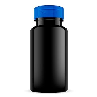 Schwarze pillenflasche mit blauer kappe. rundes tablettglas.