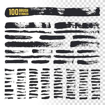 Schwarze pinselstriche des schmutzpinsels mit strukturierten rändern. vektorsammlung mit 100 grobe tinte freihandkunstbürsten. grunge anschlagtinten-farbenabbildung