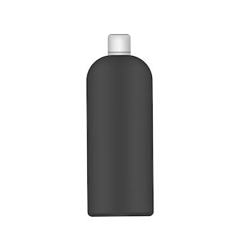 Schwarze plastikflasche mit weißem verschluss. realistische flasche.