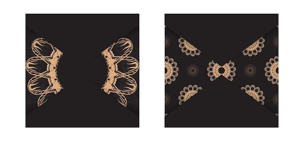 Schwarze postkarte mit luxuriösem braunem muster für ihr design.