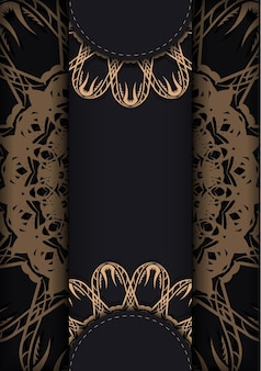 Schwarze postkarte mit luxuriöser brauner ornamentik ist druckfertig.