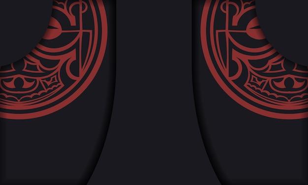 Schwarze postkarte mit maori-gott-masken-vintage-ornamenten und platz für ihren text und ihr logo.