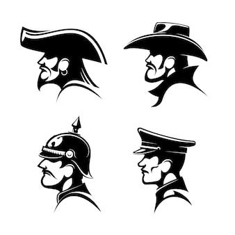 Schwarze profile von cowboy im hut, bärtiger pirat mit ohrring und kapitänshut, tapferer general der preußischen armee im helm und deutscher soldat in schirmmütze.
