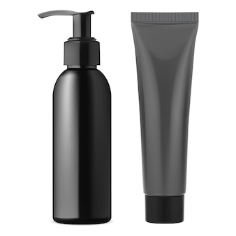 Schwarze pumpspenderflasche. cremetube aus kunststoff.