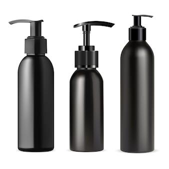 Schwarze pumpspenderflasche Premium Vektoren