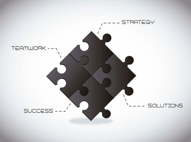Schwarze puzzles mit ideen konzeptionell