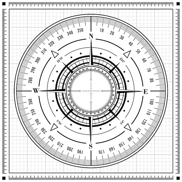 Schwarze radarkompassrose lokalisiert auf weiß.