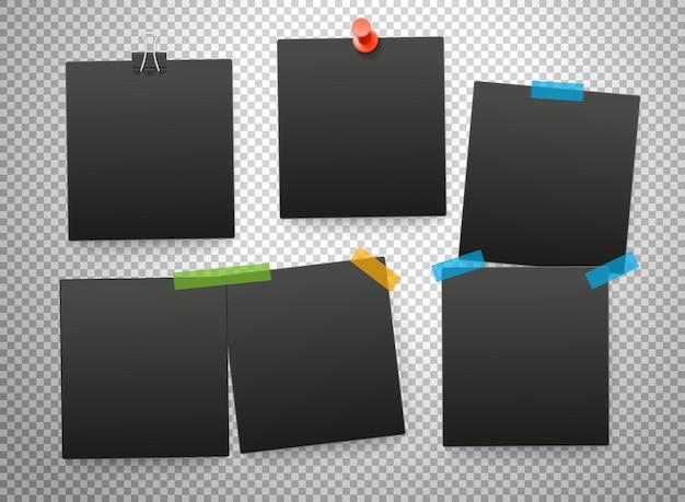 Schwarze rahmen auf transparentem hintergrund isoliert. vektormodell
