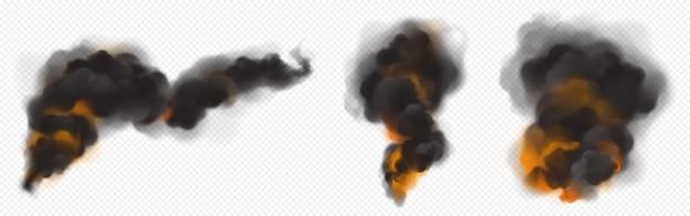 Schwarze rauchwolken mit oranger hintergrundbeleuchtung vom feuer.