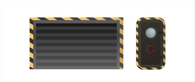 Schwarze rollladentür für lager. trichtertür. tür für einen militärischen luftschutzbunker. element für die gestaltung von lagerhallen, behältern und garagen. isoliert. vektor.