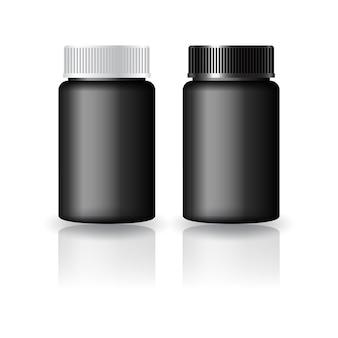 Schwarze runde ergänzungen, medizinflasche mit schwarz-weiß gerillter deckelvorlage. isoliert auf weißem hintergrund mit reflexionsschatten. gebrauchsfertig für verpackungsdesign. vektor-illustration.