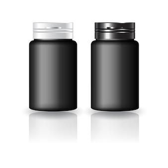 Schwarze runde ergänzungen, medizinflasche mit schwarz-weißer kappendeckelmodellvorlage. isoliert auf weißem hintergrund mit reflexionsschatten. gebrauchsfertig für verpackungsdesign. vektor-illustration.