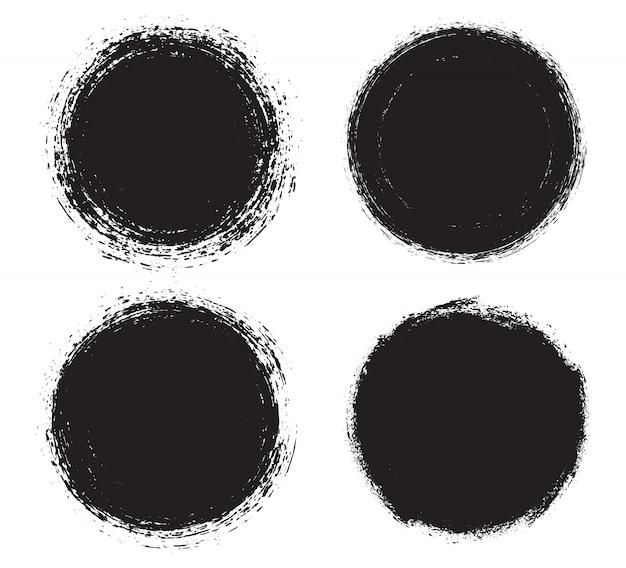 Schwarze runde grunge-rahmen