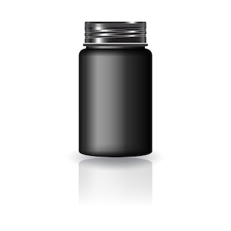Schwarze runde medizinflasche mit schwarzem schraubdeckel für schönheit oder gesundes produkt.