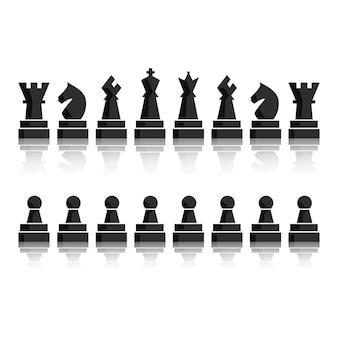 Schwarze schachbrettfiguren-icon-set