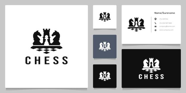 Schwarze schachfigur wettkampfsport strategie silhouette logo-design mit visitenkarte