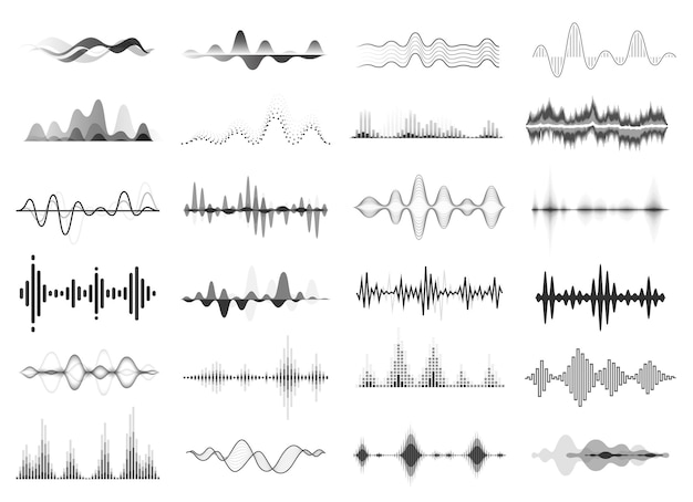 Schwarze schallwellen musik beat audio equalizer abstrakte stimme rhythmus radio visualisierung vektor-set